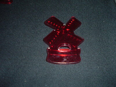 Vintage HRM Red Transparent Plastic Cookie Cutter Windmill