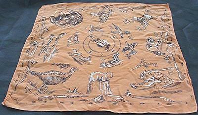 Vtg 1961 Ideal Orange Cotton Bandanna Handkerchief Animals Hunting
