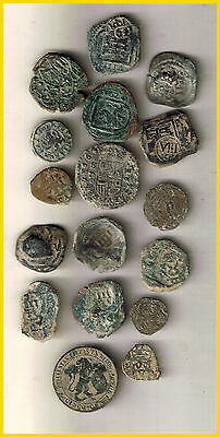LOT(a)  17 SPANISH  ANCIENT COINS OF DIFERENT TIMES-MEDIEVAL-COLONIAL-etc.