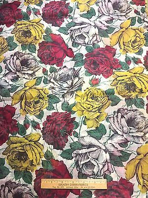 Vintage Cotton Organdy Fabric 40s50s PRETTY Red White Yellow Roses 38w 1yd
