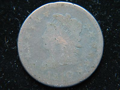 1810 Classic Head Large Cent 1C BN Tough Date Early Type Coin  Corroded