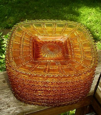 Beaded Block Amber Depression Glass 8 Square Plates Imperial