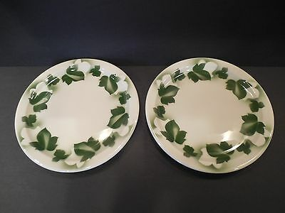 "Vintage Vitrified Jackson China Restaurant Ware Airbrushed Ivy Leaves 9"" Plates"