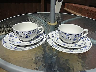 Furnivals Blue Denmark (One Cup is Mason's Denmark) Trios x 2 - Cup/Saucer/Plate
