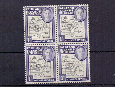 FALKLAND IS. DEPS. 1946 1d THICK MAPS BLOCK OF 4 WITH ' GAP ' MH/MNH