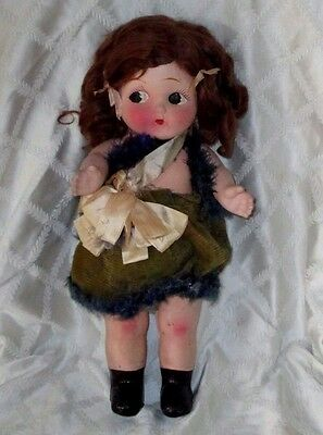 """Vintage Googly-Surprise Eyes Doll-18""""-Paper Mache-Composition-Jointed-Lenci ?"""