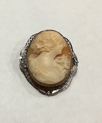 """14K Solid White Gold Filigree Carved Shell Cameo 1 2/3"""" Pin Or Pendant"""