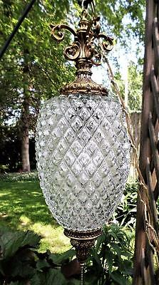 Vintage Mid-Century Pineapple Swag Lamp Chandelier Brass Crystals  Pendant