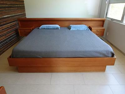 Danish Modern Platform Bed With Floating Night Stands KING - TEAK MCM ORG