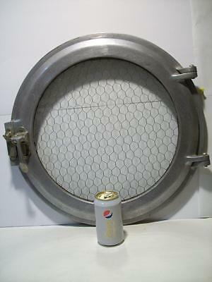 INDUSTRIAL NAUTICAL Vtg SHIP PORTHOLE WINDOW / DOOR ~ STAINLESS STEEL ~ NICE