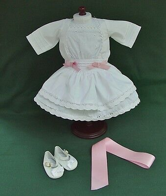 """American Girl 18"""" Retired REBECCA WHITE LACE SUMMER DRESS + BOW and SHOES REPRO"""