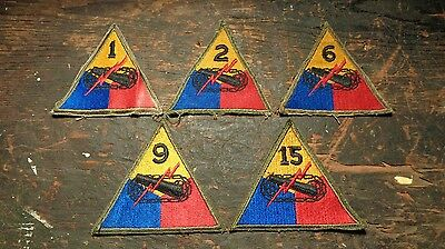 WWII lot of 5 vintage Armored Division patches (1st 2nd 6th 9th & 15th)