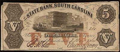 1860 $5 Dollar Bill South Carolina Bank Note Large Currency Old Paper Money