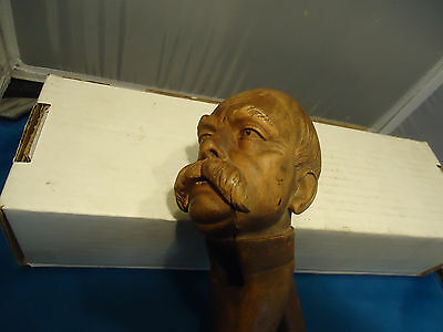 Antique Hand carved nutcracker figure bust  german man wood vtg