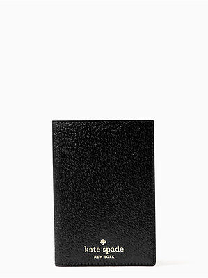 Kate Spade Grand Street Leather Passport Holder Black  Nwt