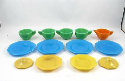 13 Vintage Akro Agate Glass Children`s Toy Dishes Multicolor