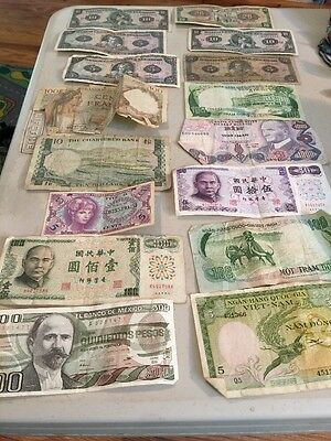 16 Pieces Assorted Currency Vietnam Framce Etc