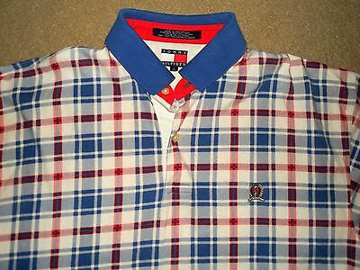 Vintage Tommy Hilfiger Men's Polo Shirt Large White Blue Red Used Cotton