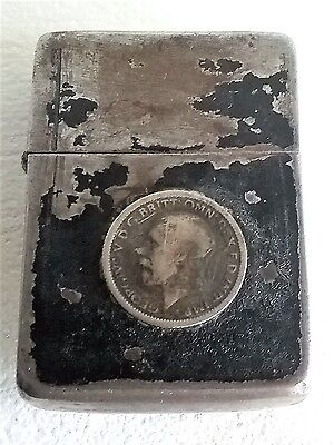 Vintage WW2 WWII Black Crackle Zippo 4 Barrel George V Silver Coins Lighter