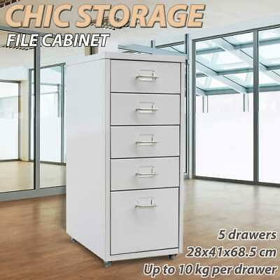 Office Steel 5 Drawer Filing Cabinet Rolling Storage File School Grey Metal