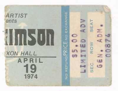 RARE King Crimson 4/19/74 Tampa FL Curtis Hixon Hall Concert Ticket Stub!