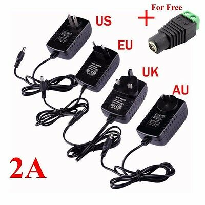 DC 12V 2A AC Adapter Power Supply Charger Transformer For 5050/3528 LED Strip