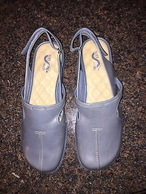 "SOFT WALK ~ Blue Leather Comfort Slingback ""LA JOLLA"" Shoes Size 11WW NEW"