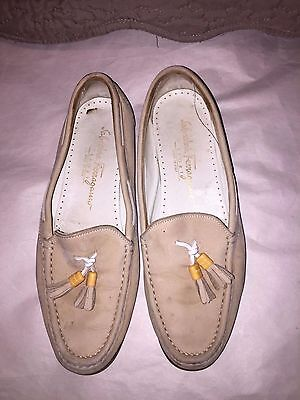 Salvatore Ferragamo Tassel Beige Leather Shoes Womens Size 7.5B