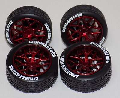 1/18 AB Models Wheels and Tires Set Sky Forged Gloss Red with Decals