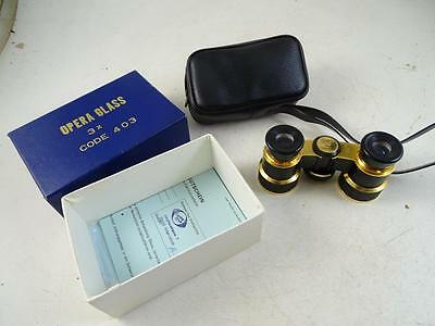 Vintage Opera Glasses Binoculars SBS 3X Coated Brass Black CP Japan w/ Box NEW