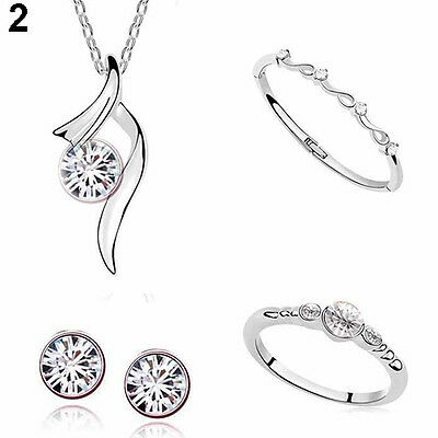 Bridal Wedding Crystal Necklace Bangle Ring Stud Earrings Jewelry Sets Fashion
