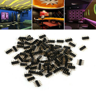 100pcs 8 * 10mm 4Pin Male Plug Adapter Connector Needle for RGB LED Strip Light