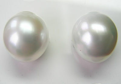 16.4mm! WHITE SOUTH SEA PEARLS PAIR UNDRILLED 100% UNTREATED +CERT AVAILABLE