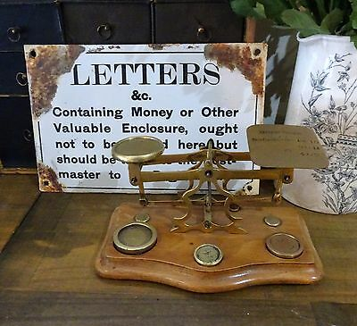 Vintage Brass Post Office Scales & Weights /  Letter Postal Scales