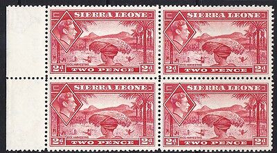 SIERRA LEONE 1938 KGVI 2d Red block of 4 stamps MH