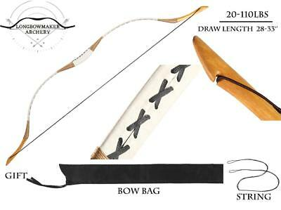 20-110#White Pigskin Bow Handmade Hungarian Longbow Archery Hunting Recurve Bow