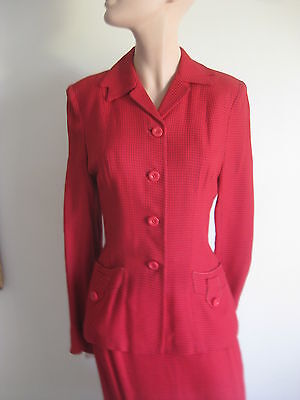 VINTAGE 1940s RED WINDOW PANE FITTED SUIT NOTCHED COLLAR VERY FINE