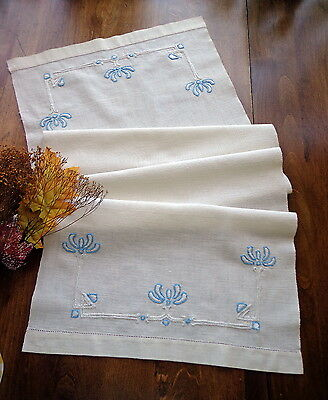 Antique Hand-Embroidered White Linen Runner Subtle Blue ART NOUVEAU Floral Motif