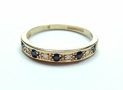 Sapphire and eternity ring 9 carat yellow gold  M 1.5 grams