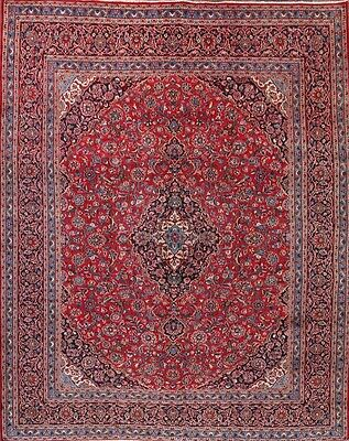 Traditional Red Floral Hand Knotted 10x12 Mashad Persian Oriental Area Rug Wool