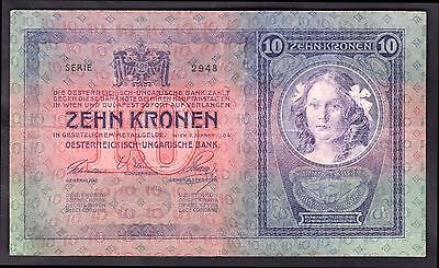 Austria. Ten Kronen, series 2948, 2-1-1904, Fine-Very Fine.