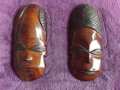 2 X Hand Carved Wooden African Face Masks / Display / Ornaments