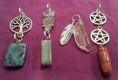 WOW - BULK LOT 4 X HANDCRAFTED DOUBLE GEMSTONE PENDANTS - with free post
