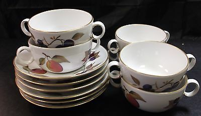 Royal Worcester Evesham Gold 6 X Soup Bowls And Saucers     Ab