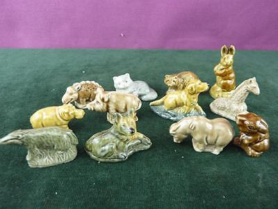 A Nice set of 12 Vintage Wade Whimsie figures boar Hippo Etc. (36)