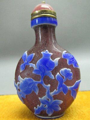 Chinese Peking Overlay Glass Carved Peach Pomegranate Snuff Bottle