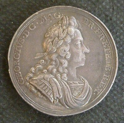 George I Official Royal Mint Silver Coronation Medallion 1714 By J. Croker Rare