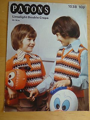 Vintage 1970's Pattern, Child's Fair Isle Sweater & Pullover, d.k. 23-28""