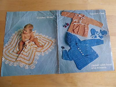 Vintage Pattern 1960's, Crochet Coat and Shawl, Knitted Cardigan d.k
