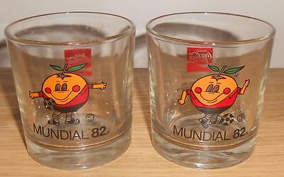 2 X Mundial 1982 Coke Cola Fifa Football Soccer World Cup Drinking Glasses